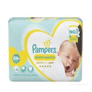 Fraldas Pampers Recém-Nascido Premium Care RN+ 36 Unidades
