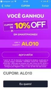 10% de desconto em Smartphones - Magazine Luiza