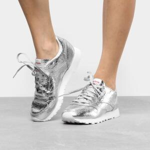 Tênis Reebok Cl Leather Hd Feminino - Prata e Branco por R$ 120