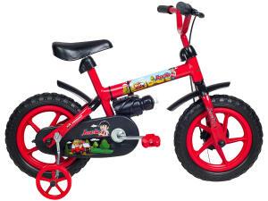 Bicicleta Infantil Aro 12 Verden Jack - Vermelha e Preta com Rodinhas - R$112