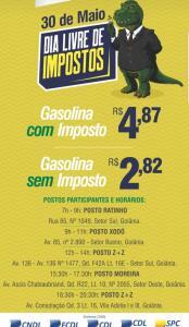 [Goiânia] Gasolina R$ 2,82 - Goiânia dia 30 de maio