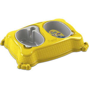 Comedouro Duplo Plast Pet New Pratiq - Amarelo | R$20