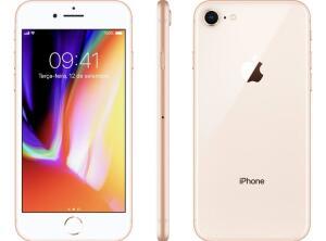"""iPhone 8 Apple 64GB Dourado 4G Tela 4,7"""" - Retina Câm. 12MP + Selfie 7MP iOS 11 - R$2799"""