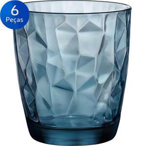 [Bug] Jogo de Copos para Whisky Diamond 390ml 6 peças - Bormioli Rocco - Azul | R$13