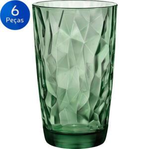 [Bug] Jogo de Copos Long Drink Diamond 470ml 6 peças - Bormioli Rocco - Verde | R$15