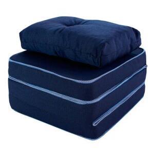 Puff Multiuso 3 em 1 Solteiro Azul com Travesseiro BF Colchões | R$100
