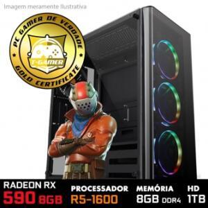 PC Gamer R5 1600 8 GB RAM RX 590 8 GB HD 1 TB