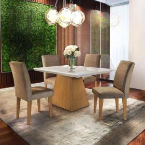 Conjunto Sala de Jantar com 4 Cadeiras Isabela Siena Móveis Chocolate/Off White/Imbuia por R$ 646