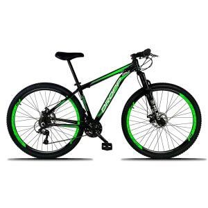 Bicicleta Aro 29 DROPP Alumínio 21 Marchas Freio a Disco - Preto e verde R$899