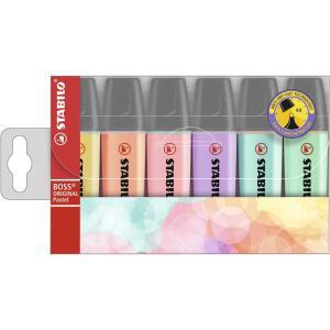 Pincel marca texto 6 cores sortido Boss pastel Stabilo | R$30