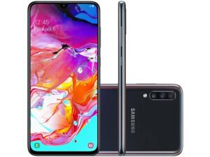 "Smartphone Samsung Galaxy A70 128GB Preto 4G - 6GB RAM Tela 6,7"" Câm. Tripla + Selfie 32MP | R$2.024"