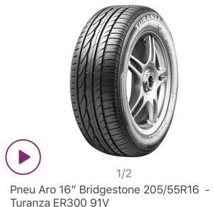 Pneu aro 16 Bridgestone 205 55 R16 modelo Turanza