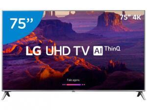 "Smart TV 4K LED 75"" LG 75UK6520 Wi-Fi HDR - Inteligência Artificial Conversor Digital 4 HDMI por R$ 5849"