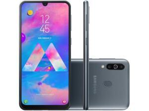 "Smartphone Samsung Galaxy M30 64GB Preto 4G - 4GB RAM Tela 6,4"" Câm. Tripla + Câm. Selfie 16MP por R$ 1214"