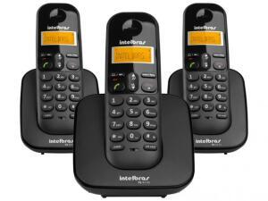 Telefone Sem Fio Intelbras TS 3113 + 2 Ramais - Identificador de Chamada Conferência Preto por R$ 170