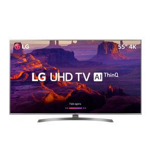 "Smart TV Nanocell 55"" LG 55SK8500PSA Super UHD 4K Inteligência Artificial Prata Conversor Digital Integrado | R$2999"