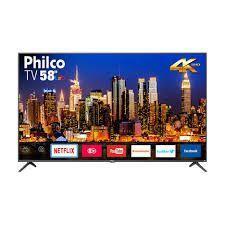 """Smart TV LED 58"""" Philco PTV58F60SN UHD 4K 3 HDMI 2 USB Cinza Escuro com Conversor Digital Integrado R$2069"""