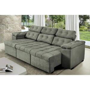Sofa Itália 2,25 Mts Retrátil E Reclinavel Tecido Suede Cinza - Cama Inbox | R$889