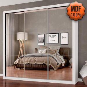 Guarda Roupa 3pts C/espelho Leona 100% Mdf Branco - Móveis Arapongas | R$889