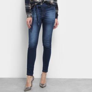 Calça Jeans Skinny Jezzian Jeans Estonada Amarração Feminina - Azul R$85