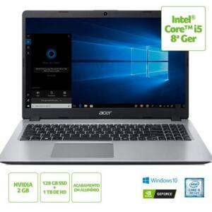 """Acer Aspire 5 A515-52G-50NT; Intel Core i5-8265U 8ª ger.; Memória de 8 GB; SSD de 128 GB + HD de 1 TB; Tela de 15.6"""" HD - R$2.999"""