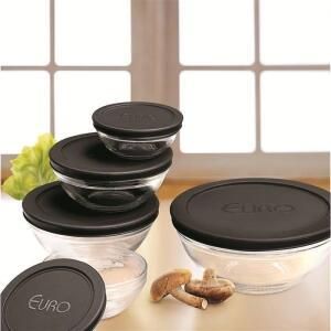 Conjunto de Potes Redondos Euro Home VDR7090-PT em Vidro – 5 Peças | R$27