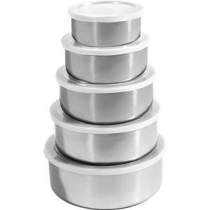 Conjunto de Potes e Tigelas Organizadoras Inox 5 Peças com Tampa - Travel Max | R$13