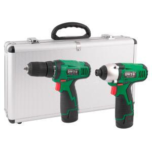 Combo Parafusadeira/Furadeira + Parafusadeira com Impacto com 2 Baterias Lítion 10,8V, Carregador Bivolt e Maleta - DWT-6005108108 - R$459