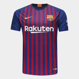 Camisa Barcelona Home 2018 s/n° Torcedor Nike Masculina - Azul e Grená