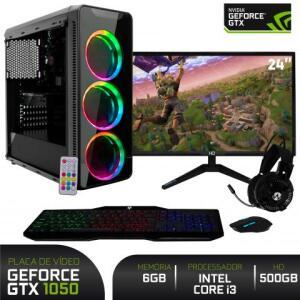 "PC Gamer com Monitor LED 24"" Full HD e Geforce GTX 1050 3GB Intel Core i3 6GB HD 500GB Fonte 500W Gabinete RGB EasyPC | R$2650"