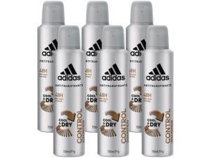 Kit 6 desodorante aerosol adidas control cool dry