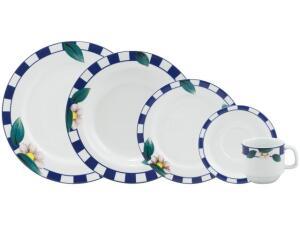 Aparelho de Jantar 20 Peças Schmidt Redondo - Colorido Porcelana Lavínia | R$144