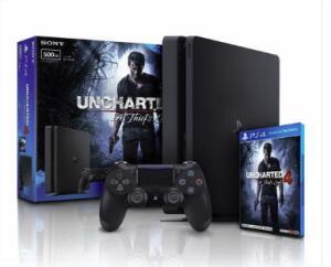 Console Playstation 4 500Gb Slim Com Jogo Uncharted 4 Bundle Ps4 Sony - R$1.757