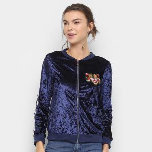 Jaqueta Bomber Lily Fashion Veludo Bordado Tigre Feminina - Marinho R$52