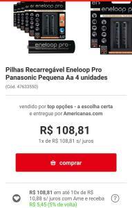 (APP/Frete grátis) Pilhas recarregáveis Eneloop Pro Panasonic AA 4 unidades