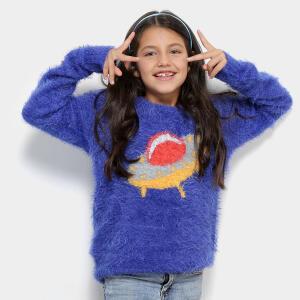 Tricô Infantil Zeep! Crew Neck Feminino - Azul R$25