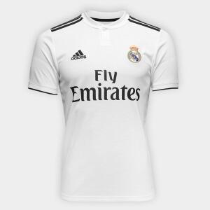 Camisa Real Madrid Home 2018 s/n° Torcedor Adidas Masculina - Branco e Preto por R$ 150