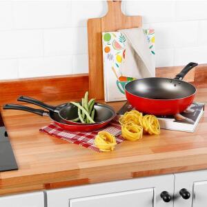 Kit Conjunto de Frigideiras Antiaderente Vermelha 2 Peças + Panela Wok Antiaderente Vermelha 24cm - La Cuisine - R$72