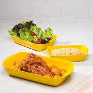 Kit com 3 Travessas Retangular Amarela La Cuisine - R$82