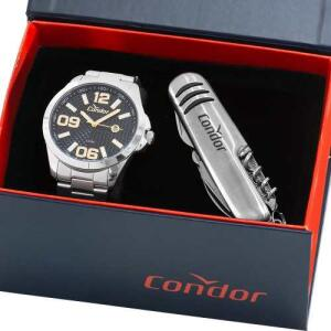 Kit Relógio Condor Masculino Com Canivete Nota Co2115ksy/k3c - R$89