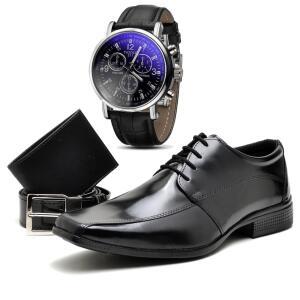 Sapato Social Top Flex Cinto Carteira e Relógio 804L
