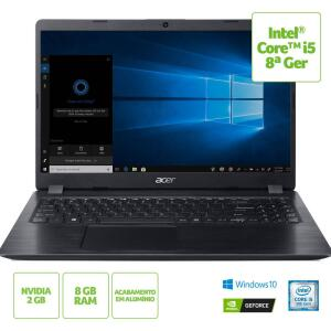 "Notebook Acer A515-52G-58LZ 8ª Intel Core i5 8GB (Geforce MX130 com 2GB) 1TB Tela LED 15,6"" Windows 10 - Preto - R$2302"