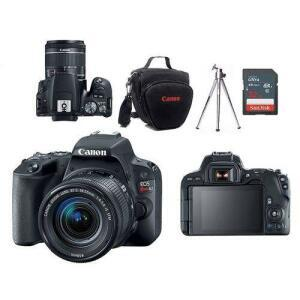 Câmera Canon EOS SL2 EF-S 18-55mm f/4-5.6 IS STM + Bolsa + Tripé + Memória 32GB Classe 10 | R$1951