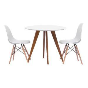 Mesa de Jantar Square Redonda Branco Fosco 80cm + 2 Cadeiras Eiffel Branca | R$566