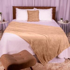 Cobertor Casal 180x220 Microfibra Flannel - Bege | R$20