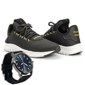 Kit Tênis Masculino Sport Runner Polo Joy + Relógio R$103