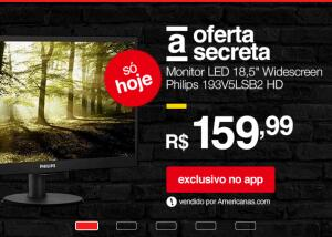 "Monitor LED 18,5"" Widescreen Philips 193V5LSB2 HD"