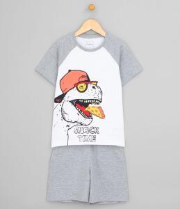 Pijama Infantil c/ Estampa Dinossauro e Pizza - Tam 9/10 ou 11/12 - R$19
