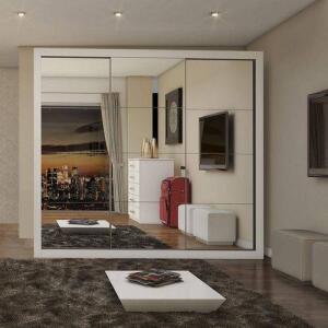 Guarda Roupa Casal com Espelho 3 Portas Flórida Siena Móveis Branco | R$710