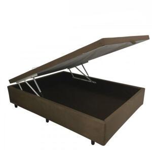 Cama Box Baú Casal em suede marrom com Pistão a gás - 138x188 | R$405